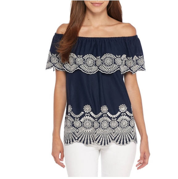 90c8966c9423c Fever Tops - Off the Shoulder Ruffle Top (Large)